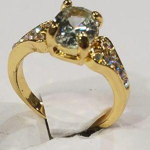 Gift women's ring white sapphire 14K gold